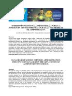 Modelos de Gestão Na Administração Pública Influência Dos Gestores Na Aplicação Dos Modelos de Admnistração