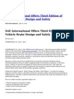 SAE International Offers Third Edition of Vehicle Brake Design and Safety