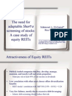Need for Acceptable Shariah Screening Equity and Reits