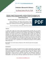 Micellar Liquid Chromatographic Analytical Method Development and Validation of Determination of Atorvastatin Calcium an (1)