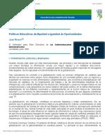 Políticas Educativas de Equidad e Igualdad de Oportunidades