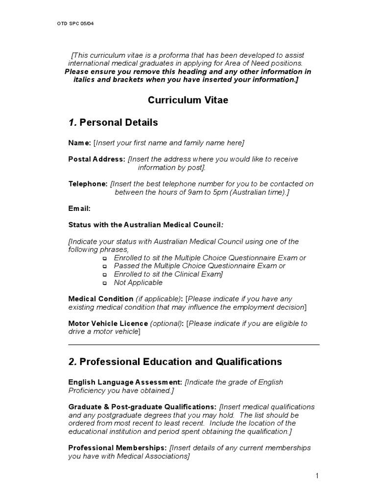 proforma curriculum vitae postgraduate education test assessment