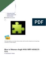 How to Measure Angle With MPU-6050(GY-521)