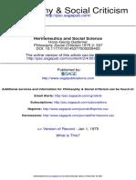 Gadamer - Hermeneutics and Social Science