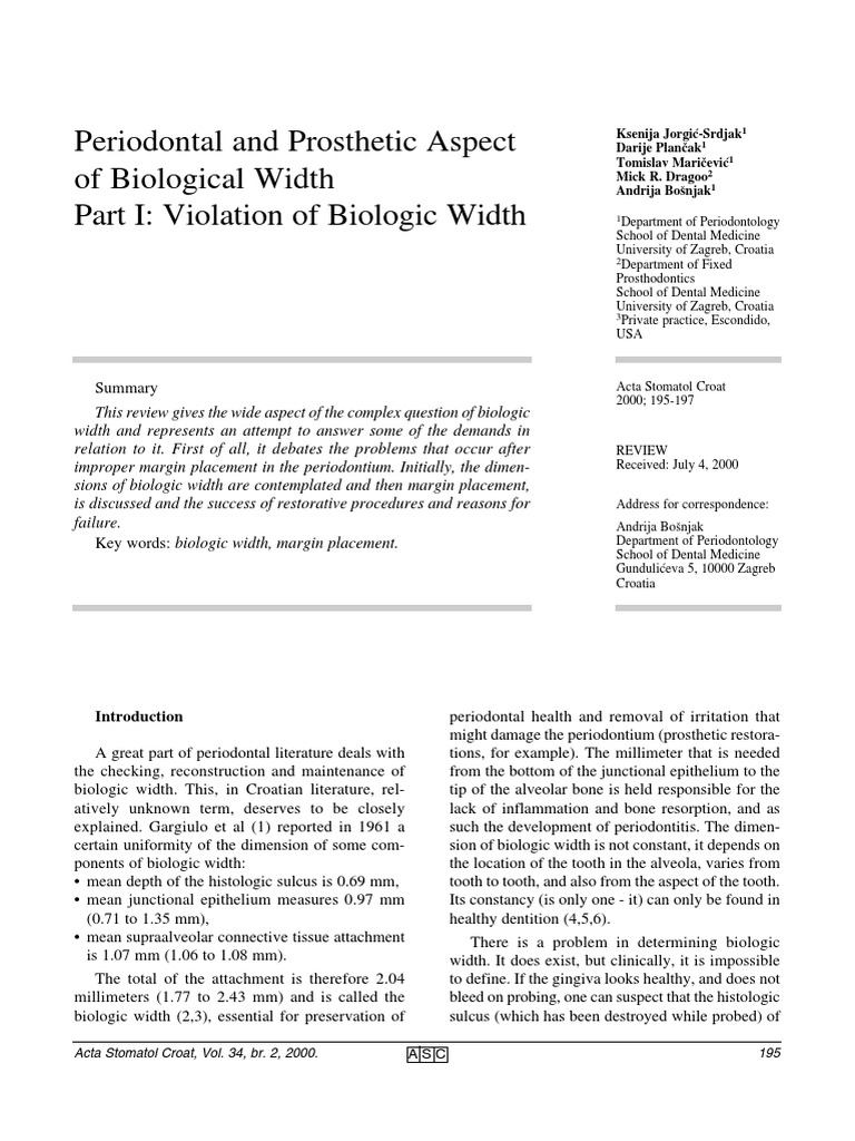 periodontal and prosthetic aspect of biological width human tooth mouth