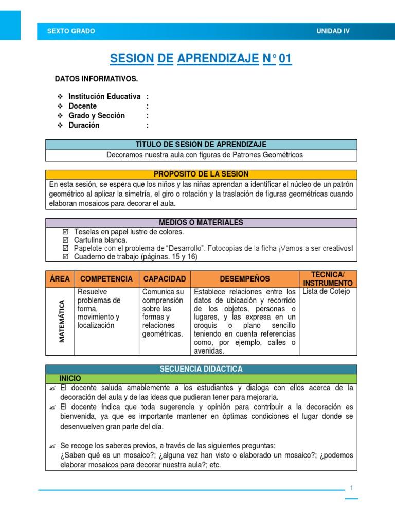 2.- Sesiones de Aprendizaje - Unidad Didáctiva N° 04