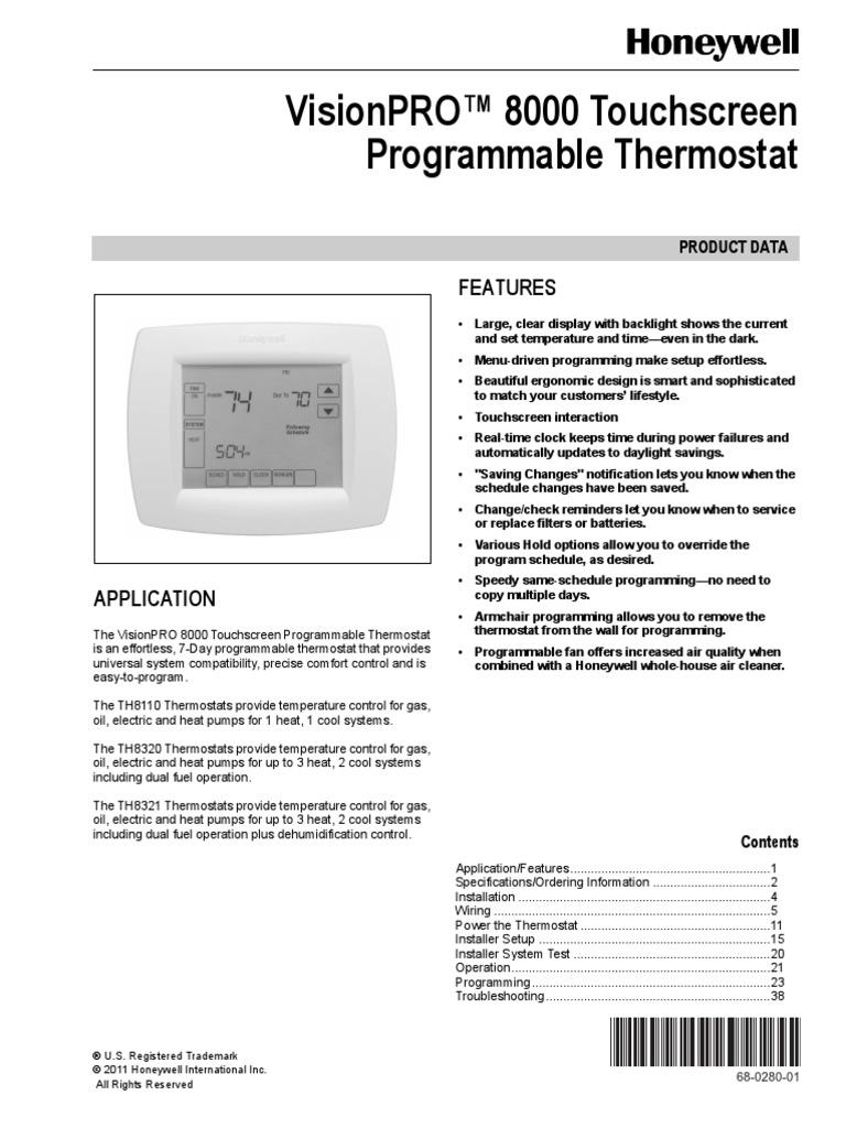 Honeywell Vision Pro Th8321 Setup Manual