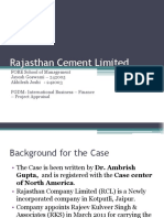 Rajasthan Cement Case - Project Appsaisal