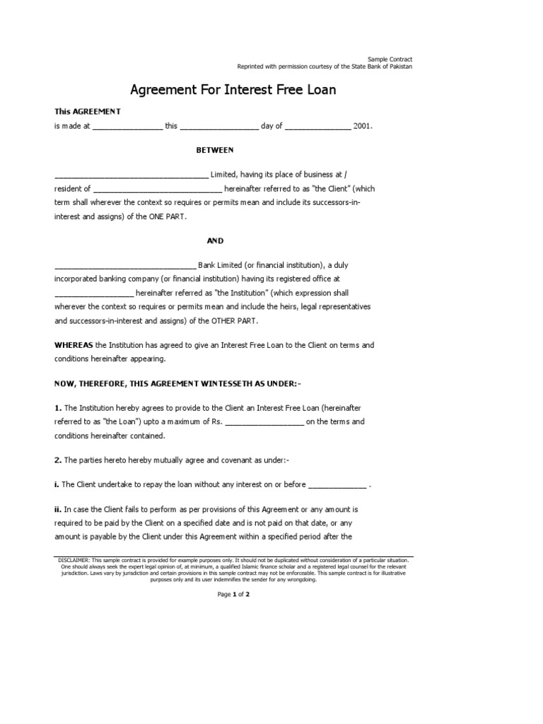 Sample Agreement for an Interest Free Islamic Loan – Sample Investment Contract Template