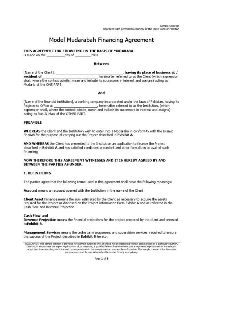 Mudarabah Financing Agreement Islamic Banking And Finance