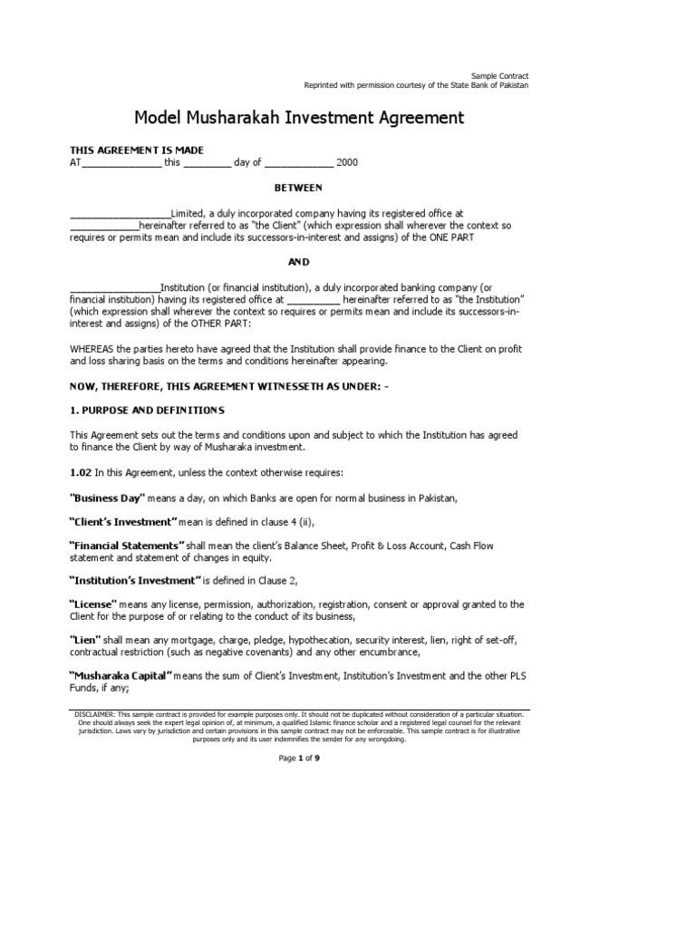 Musharakah Investment Agreement – Profit Sharing Agreement Template