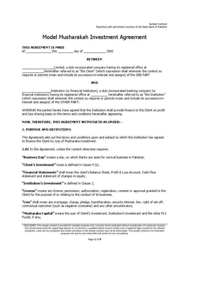Musharakah Investment Agreement – Sample of Investment Agreement Contract