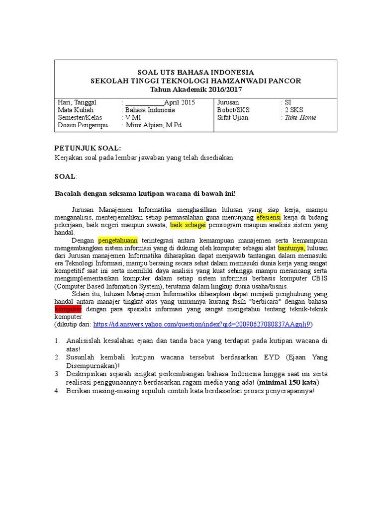 Contoh Soal Uts Bahasa Indonesia Semester 1 Kuliah