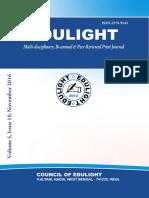 EDULIGHT Volume - 5, Issue - 10, Nov 2016