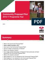 Community Proposal Pilot Information (2016 - 2017)