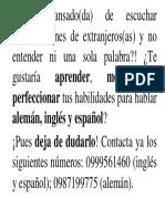 Clases Privadas de Gramática Del Inglés, Español y Alemán.