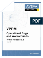 AVEVA VPRM Operational Bugs and Workarounds