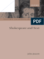 John Jowett Shakespeare and Text