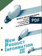 Marco New Product Information III HID Downlights 1986