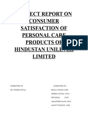 questionnaire for hindustan unilever limited products
