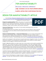 Article on Design for Manufacturability