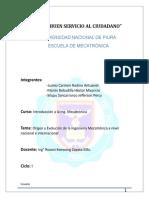 Origen y Evolución de La Mecatrónica a Nivel Nacional e Internacional[1]