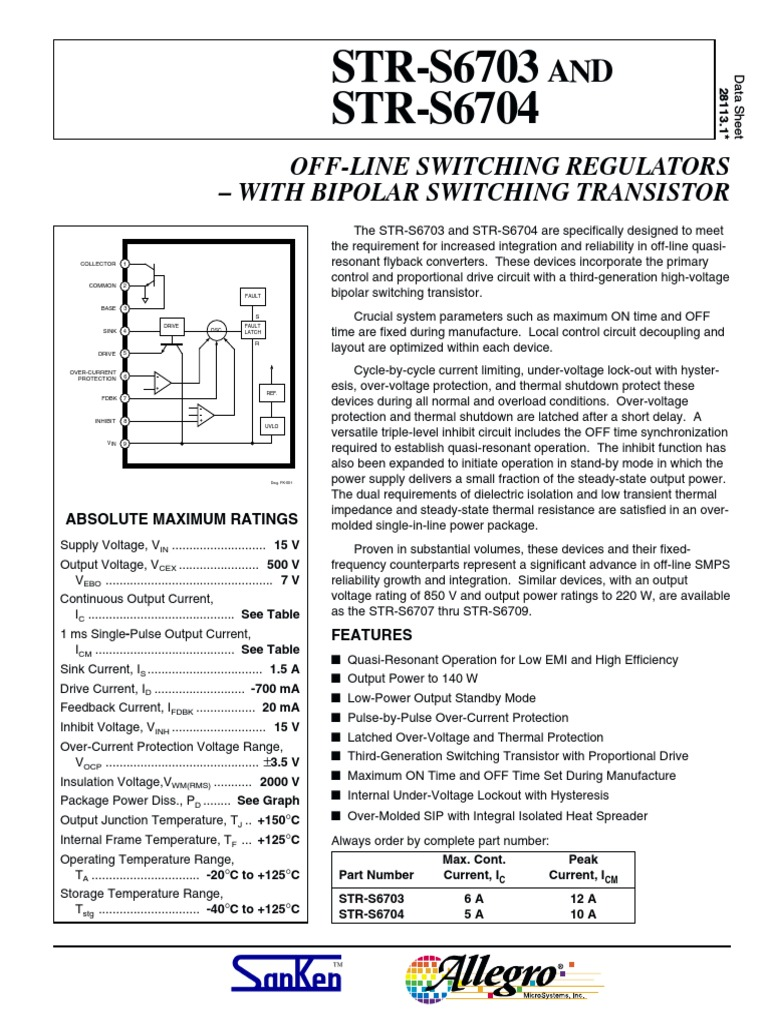 Datasheet Str6703 Str6704 Physical Quantities Power Physics Switching Regulator Time