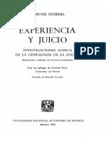 Husserl Edmund - Experiencia Y Juicio