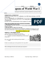 weapons of ww1 web quest
