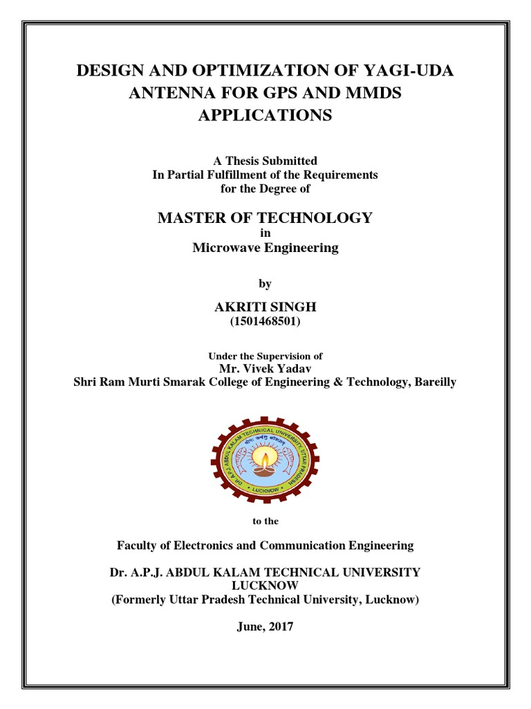 Akriti PDF Thesis | Antenna (Radio) | Electromagnetic Radiation