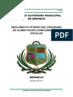 Reglamento El Programa de Alimentacion Complementaria Escolar