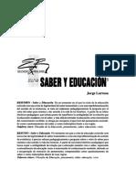 Larrosa, José-Saber y Educación