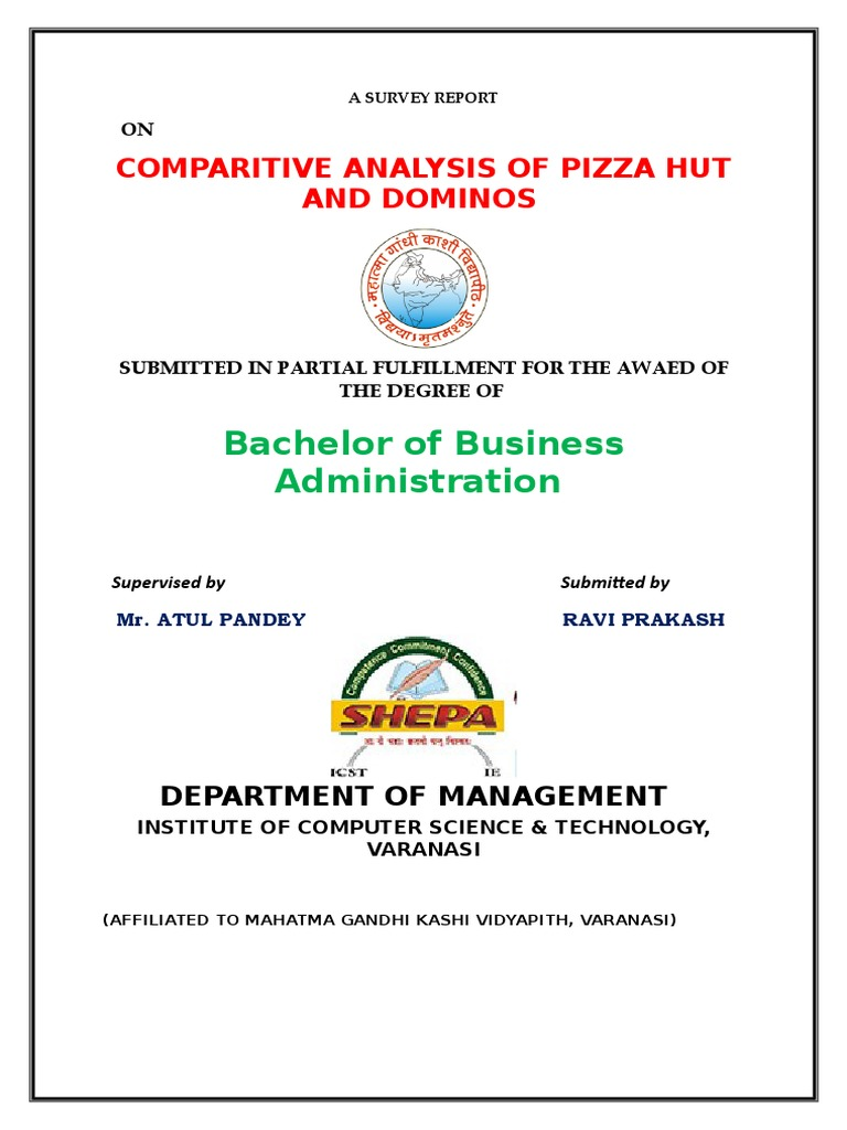 66505005 Comparitive Analysis Of Dominos And Pizza Hut Fast Food