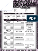 Beast Character sheet 4 pages