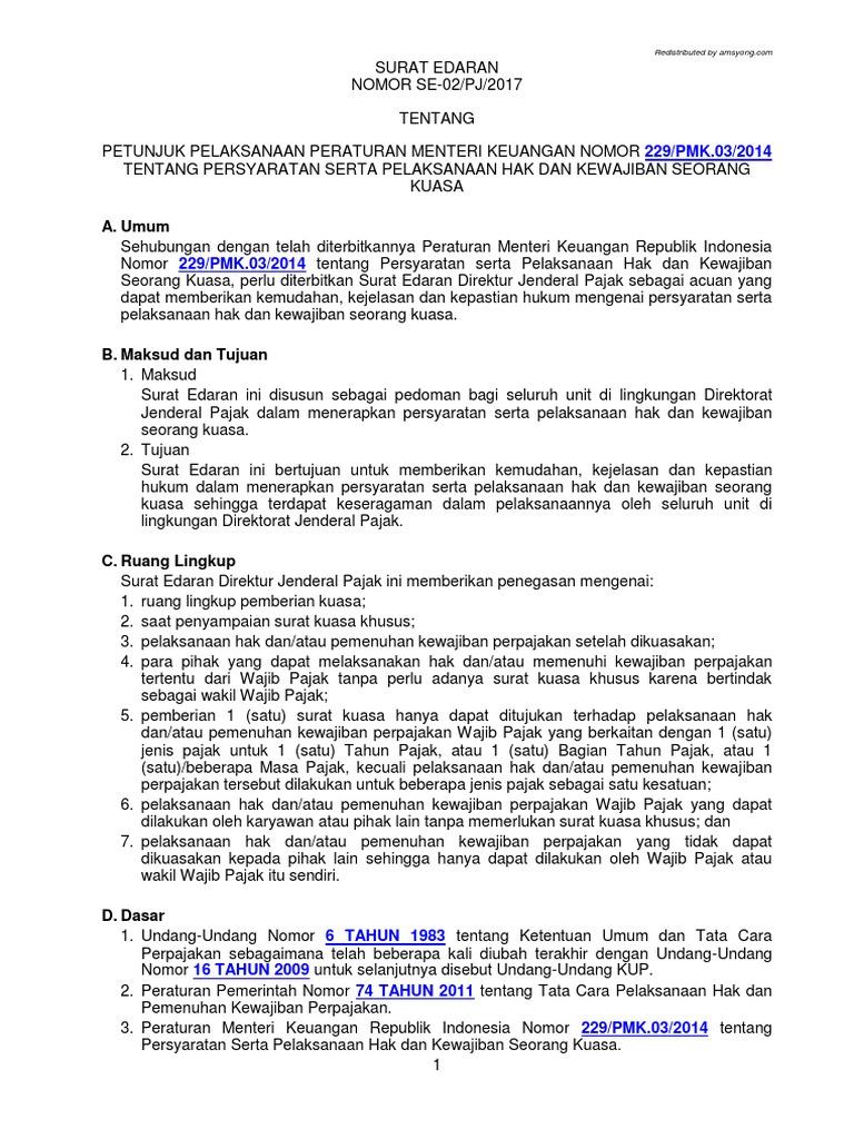 SE - 02 PJ 2017 - Surat Kuasa Khusus Wajib Pajak