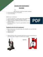 Machine Shop Maintenance