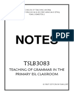 TSLB3083 Teaching of Grammar in the Primary ESL Classroom COMPLETE BRIEF SHORT NOTES