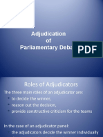 Adjudication of Parliamentary Debate