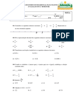 Prova de Matematica- Prof. Rodrigo- 2° Bimestre