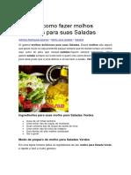 Aprenda Como Fazer Molhos Deliciosos Para Suas Saladas