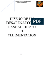 Trabajo Diseño de Un Desarenador en Base Al Tiempo de Cedimentacion - CONSTRUCTORA BERNAL LLAUCE LUIS