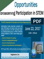 Bulletin Board Flyer 2017 - NSF Broadnening Participation Webinar - Full Registration Link