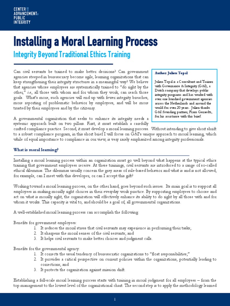 Installing a moral learning process integrity beyond traditional ethics training morality judgment law