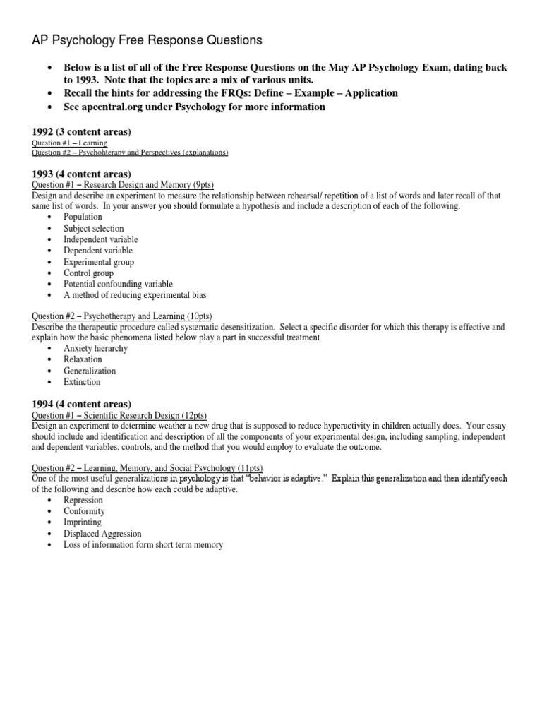 AP Psychology May Exam FRQs | Experiment | Social Psychology
