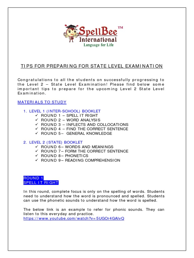 Spellbee international state level preparation tips 2016 17 1 1 spellbee international state level preparation tips 2016 17 1 1 test assessment grammar fandeluxe Images
