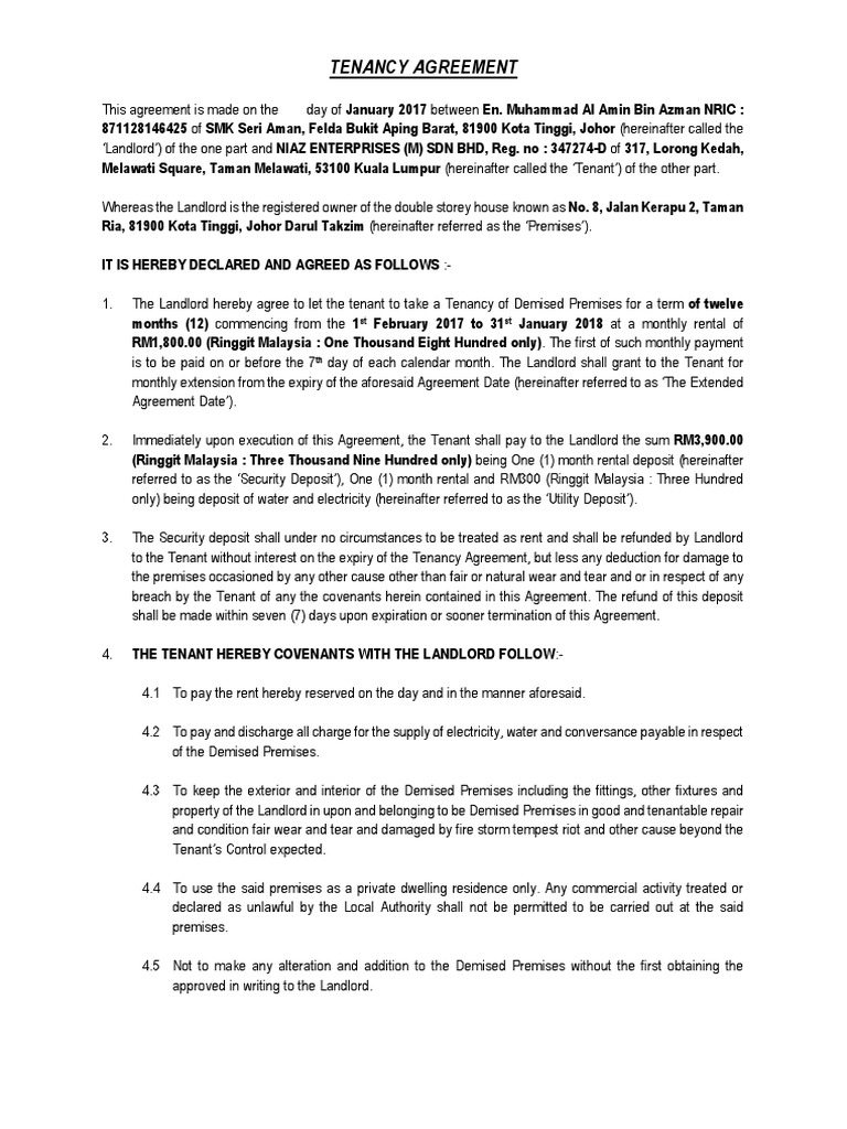 Tenancy Agreement Jb Leasehold Estate Landlord