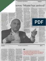"""Entrevista con Miami Herald """"Gustavo Cisneros:Miami has arrived"""""""