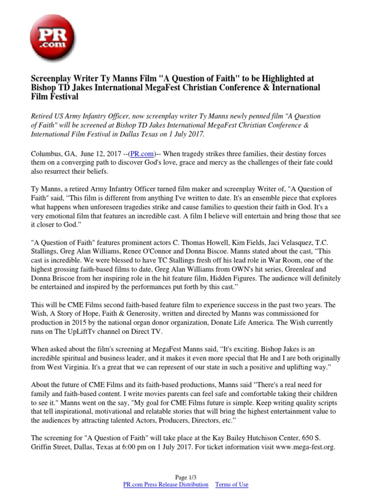 Screenplay Writer Ty Manns Film