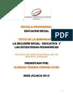 Monografia La Inclusion Social-glendar Condori Ccuno-educ. Inicial-Vi Ciclo