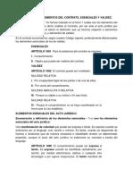 Elementos esenciales y de validez de los contratos.